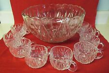 Vintage  Square Party Punch Bowl Set  Pressed Glass 12 Cups!