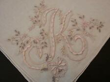 VINTAGE LINEN HANDKERCHIEF BRIDAL WEDDING EXQUISITE PINK MONOGRAM K MADEIRA