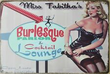 PLAQUE DECORATIVE PIN UP-MISS TABITHA -30 X 20 CM -NEUVE-DECO USA /BIKER/VINTAGE