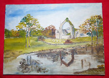 Original Oil on Canvas Landscape Abbey Signed Peter Abrahams 1967
