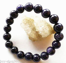 8mm Natural Blue Galaxy Staras Blue Sand Sun Sitara Stretch Bracelet 7.5""