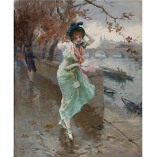 Hernandez Oil Painting repro Elegant lady on the quay of Paris
