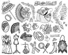Unmounted Rubber Stamps Sheets, Victorian, Vintage, Floral, Flowers, Cameo, Fan