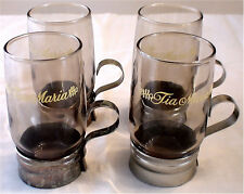 """Set of 4 Authentic """"Tia Maria"""" Smoked Glasses with Brass Base and Handle"""