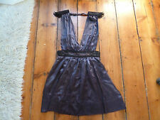 BNWT KATE MOSS PURPLE SILK PLUNGE FRONT & BACK DRESS ,12.TOPSHOP
