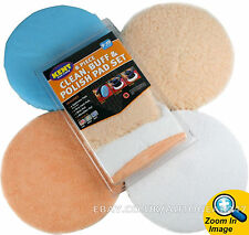 "Kent 8pc 9"" - 10"" Car Polisher Polishing Polish Buffer Clean Waxing Pads Set"