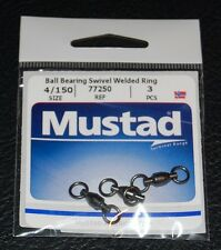 Mustad 77250-4/150 Ball Bearing Swivel with Welded Rings 150lb Test Pack of 3