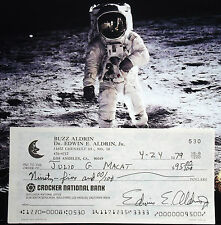 Buzz Aldrin Apollo 11 Mission Lunar Module Pilot Signed Check Authentic