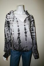 HARD TAIL size small brown gray tie-dye hooded sweatshirt