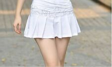 Wht Girl Women Pleated Tennis Skort Skirt Sports Mini Dress Active Wear Shorts L