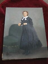 Victorian HAND OIL PAINTED PHOTOGRAPH, Mourning Dress, Button Shoes, Green Chair