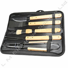 Premium BBQ Wood Handle Tool Kit Tongs Barbecue Brush 5 Piece Utensil Set & Case
