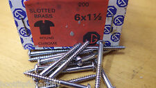 "20 x  1 1/2"" x 6 CHROME PLATED ON  BRASS ROUND HEAD WOOD SCREWS SCREW SLOTTED"