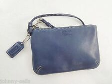 Coach Slate Blue Leather with Signature Lining Wristlet w Hang Tag
