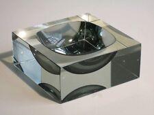 1970 VENEZIA MURANO PORTACENERE DESIGN PRISMATIC VETRO SOMMERSO FUME' OPTIC
