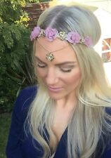 Vintage Purple Rose Gold Diamond Flower Chain Hair Band Choochie Bohemian Hippy