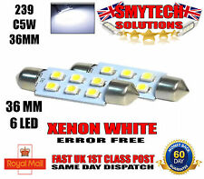 X2 36mm 6-SMD LED Xenon White Number Plate Bulbs VW BORA