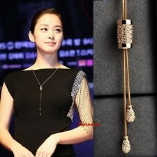 Rose Gold Filled Swarovski Crystal Adjustable Chain Cylinder Long Necklace N304