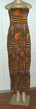 FLORAL STRIPE GOLD BLACK PINK ROSES SUMMER ELASTIC DRESS MAXI LONG STRAPLESS 1X