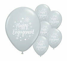 "24 x HAPPY ENGAGEMENT  SILVER 12"" HELIUM QUALITY PEARLISED BALLOONS (PA)"