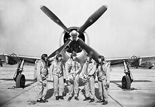 NEW 8x12 Photo - 5 NACA Test Pilots stand in front of P-47 Thunderbolt 1945