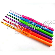 Sales 6 Sizes Plastic Handle Crochet Hooks Knitting Yarn Needles Set 2.5-5mm X チ