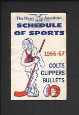 1966 -67 Baltimore Colts Clippers Bullets Pocket Schedule Tri-Fold RARE!