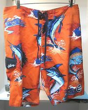 "Men's Billabong Size 38 Swimming Trunk Sharks Hawaiian Bright Orange 22 3/4"" B12"