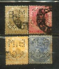 4 Malaya Straits Settlements QV Watermarks Crown CA. Perfin.