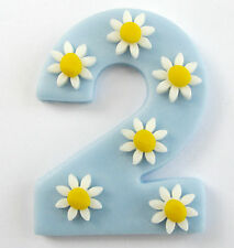 Large Number with daisies- CHOOSE NUMBER & COLOUR edible sugar cake topper 6.5cm