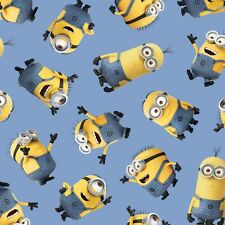 ONE IN A MINION~QT FABRIC~BY 1/2 YD~TOSSED MINIONS ON BLUE~DESPICABLE ME~23990-B