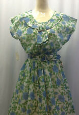 40's 'Bangor Mills' Original Blue Rose Print Dress with Rhinestones Pin & Belt