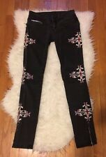 ROCKSTAR SUSHI EMBROIDERED TRIBAL BIKER MOTO SKINNY LOW RISE DENIM JEAN~25~$220