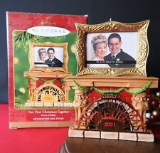 Hallmark Ornament 2001 Our First Christmas Together Photo Holder Fireplace Magic