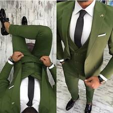 DESIGNER BUSINESS SUIT GRÜN HERRENANZUG SAKKO HOSE WESTE TAILLIERT SLIM FIT 46