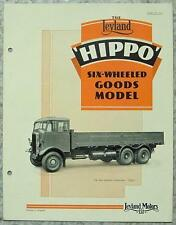 LEYLAND HIPPO SIX WHEELED GOODS TRUCK Sales Brochure Nov 1938 #559