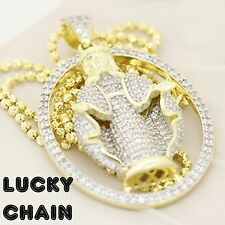 "925 STERLING SILVER ICED OUT GOLD JESUS PENDANT 24""MOON CUT CHAIN 23g E810"