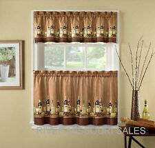 "Wine Bottles And Glasses Printed Window Valance and Tier Set, 56"" x 24"" - NEW"