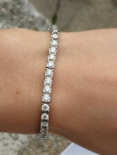 7.45 CT F SI IDEAL CUT NATURAL DIAMOND TENNIS BRACELET 14K WHITE GOLD 7 INCHES