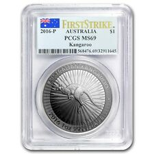 2016 ~ 1~OZ .9999 SILVER ~ KANGAROO ~ PCGS ~ MS~69 ~ FIRST STRIKE ~FLAG~  $42.88