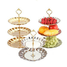 Crown  3 Tier Cake Cupcake Plates Stand Handle Holder Hardware With Plates