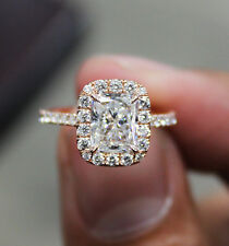 1.70 Ct Natural Radiant Halo Pave Diamond Engagement Ring - GIA Certified