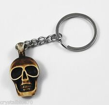 1 x Skull Keyring Resin Skeleton Keychain Saddle Brown 100mm - SKR001