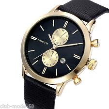 Superbe Montre De Luxe Quartz Japonais Homme North Classique Date Bracelet Cuir