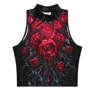 RED ROSES  PRINT CROP TOP HALLOWEEN HORROR GOTH