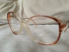 French Sunglasses eyeglasses frames brown clear w/ Gold Metal Details 54-16-140