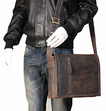 Mens Brown Messenger Leather Bag iPad Laptop Vintage Shoulder Record MAN BAG