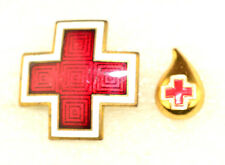 2 VINTAGE AMERICAN RED CROSS PINS: WWII GUILLOCHE ENAMEL & BLOOD DROP DONOR PIN