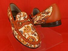 NIB GUCCI NEW RUST 1953 PAISLEY CANVAS  GOLD HORSEBIT LOAFERS 11 12  #310090