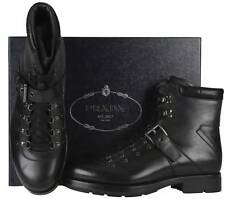 NEW PRADA MEN'S BLACK LEATHER BIKER RODEO ANKLE BOOTS HEAVY DUTY SHOES 5.5